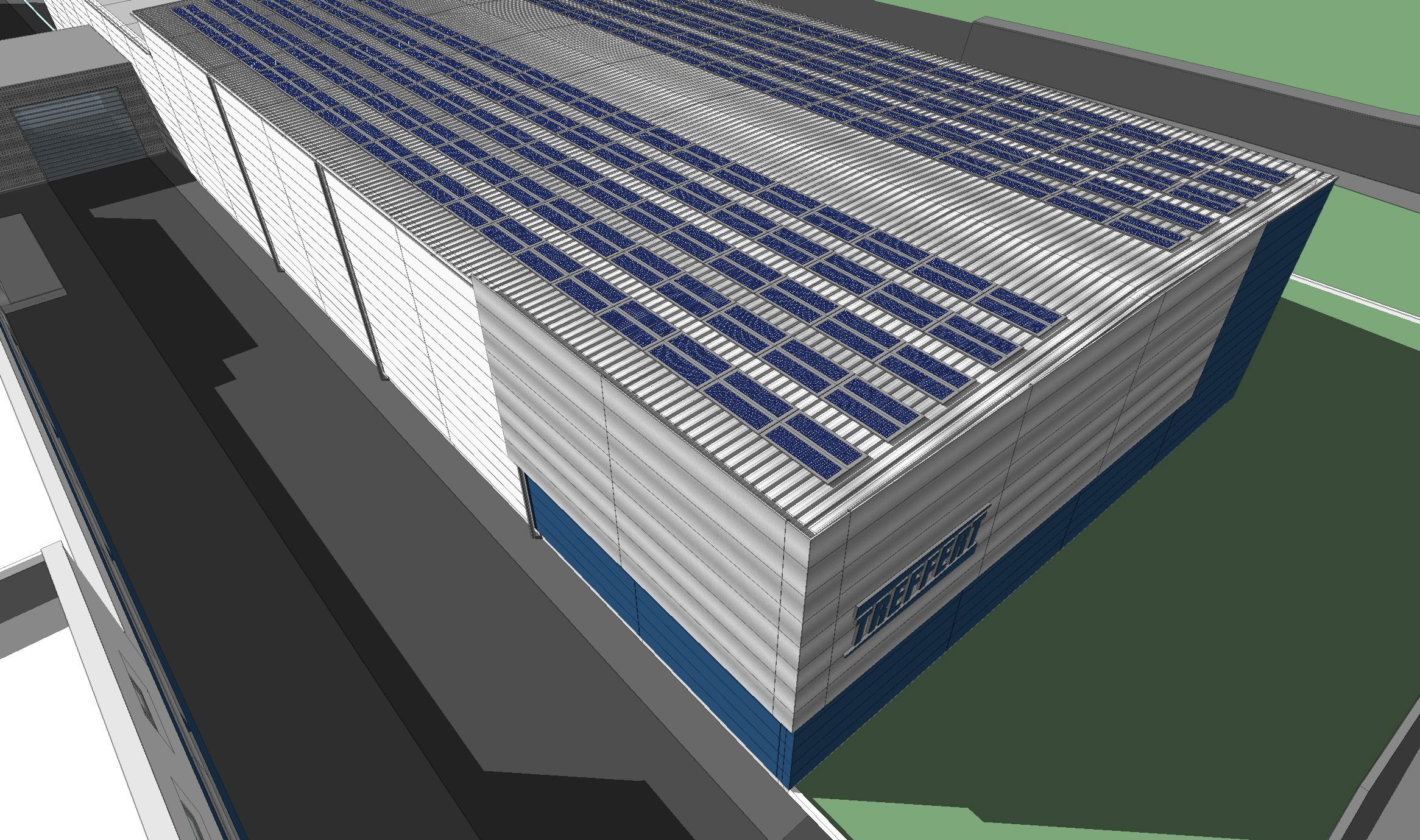 Lagerhalle in Bingen - Ansicht Dach mit Solaranlage