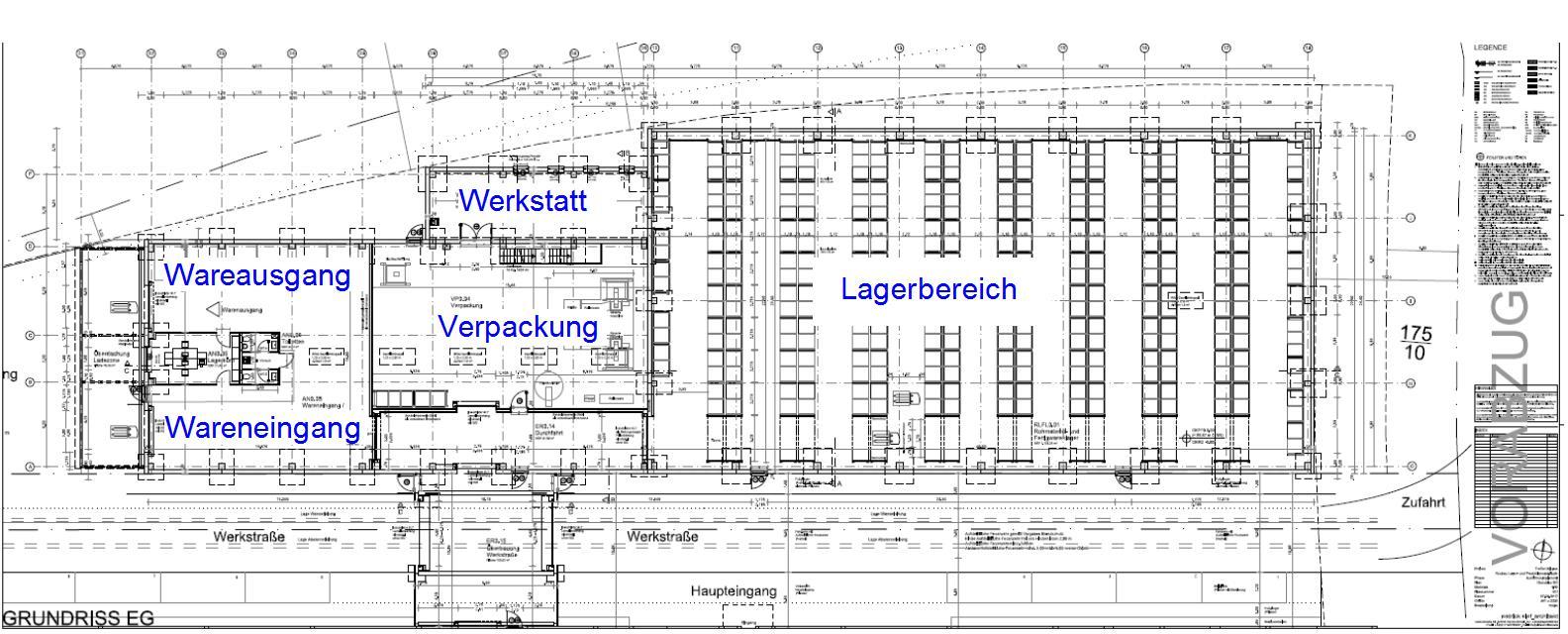 Lagerhalle in Bingen - Seitenansicht Plan